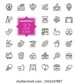Amusement Park minimal thin line web icon set. Included the icons as Rollercoaster, Carousel, Ferros Wheel and more. Outline icons collection. Simple vector illustration.