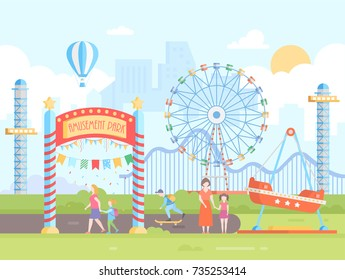 Amusement park - modern flat design style vector illustration on urban background. Cityscape with attractions, big wheel, roller coaster, people. Hot air balloon, sun in the sky. Entertainment concept