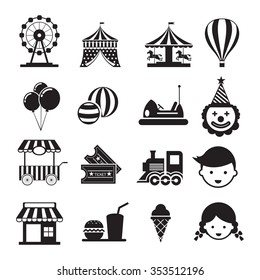 Amusement Park Mono Icons Set, Carnival, Fun Fair, Circus festival