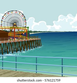Amusement park on the pier in Santa Monica