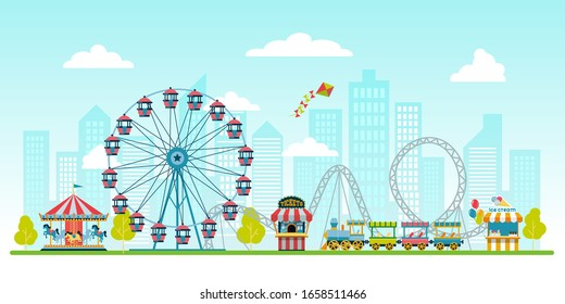 Amusement park  on urban landscape background with ticket office, kiosk with ice cream, ferris wheel, balloons,  carousel with horses and train. Circus, Fun fair and Carnival vector illustration.