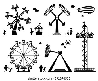 Amusement park pictogram set. Fun and entertainment outdoors. Roller coaster and adrenaline rides.