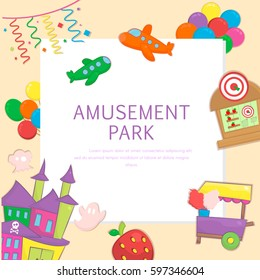 Amusement Park and Playground Background with Airplanes, Haunted House, Candy Cart, Shooting Range and Balloons. Cute banner in cartoon style. Vector illustration.