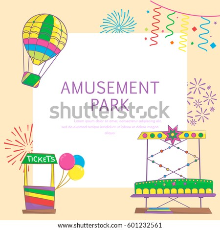 Amusement Park Playground Background Carousel Hot Stock Vector