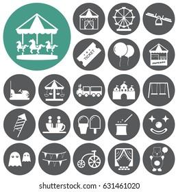 Amusement park, playground icon set. Vector illustration