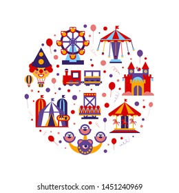 Amusement Park of Round Shape, Childish Style Design Element Can Be Used for Fabric, Wallpaper Vector Illustration