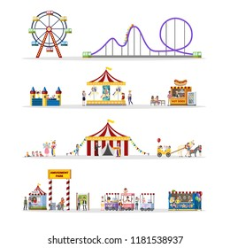 Amusement park set with circus tent, carousels and clowns. Children and their parents have fun in the park. Urban summer landscape. Flat vector illustration