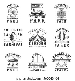 Amusement park set of vector vintage emblems, labels, badges and logos in monochrome style on white background. Amusement park, carnival, attraction design elements