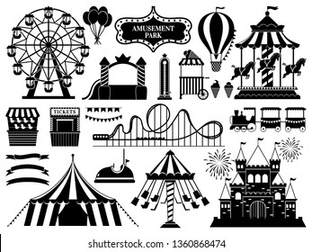 Amusement park silhouette. Carnival parks carousel attraction, fun rollercoaster and ferris wheel attractions. Amuse circus carousel, air balloon and castle. Isolated vector icons set