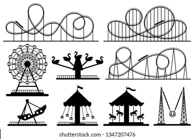 Amusement park silhouette. Roller coaster, festive carnival carousel and ferris wheel. Park rolllers construction, fair attractions or fairground carousel. Vector isolated sign silhouettes set