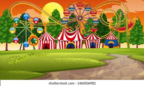 Amusement park sunset scene illustration