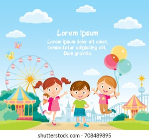 Amusement park, theme park, entertainment park. Carousel, roller coaster.Carnival Children having fun, excited, jumping, childhood, friends.Funny cartoon character.Play around,hang around,have leisure