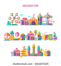 Amusement Park, theme Park, water Park. A large set of carousel icons, water slides, fun on vacation and weekends for the whole family. Vector illustration.