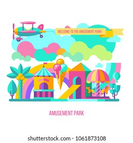 Amusement Park, theme Park, water Park. A large set of carousel icons, water slides, fun on vacation and weekends for the whole family. The plane carries a banner with The inscription welcome.