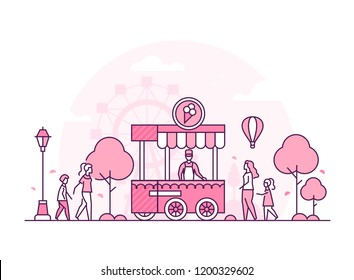 Amusement park - thin line design style vector illustration