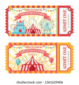 Amusement park ticket. Admit one circus admission tickets, family park attractions festival and amusing fairground. Amusing fair or circus carnival show ticket vector illustration set