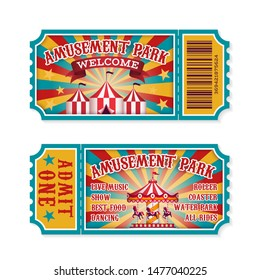 Amusement park ticket. Family park attractions admission tickets, fun festival vintage event receipt. Fair raffle coupons. Vector summer poster for child invitation carousel or theater set