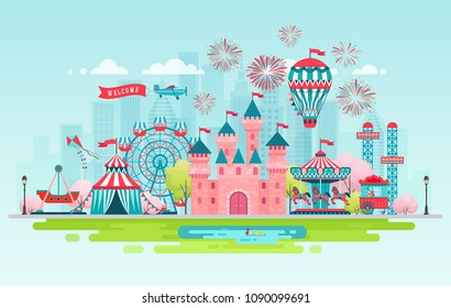 Amusement park, urban landscape with carousels, castle and air balloon. Circus, Fun fair and Carnival theme vector illustration.