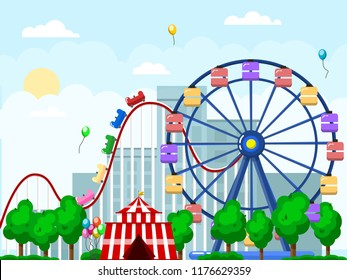 Amusement park, urban landscape with carousels and roller coaster. Circus, Fun fair and Carnival theme vector illustration.