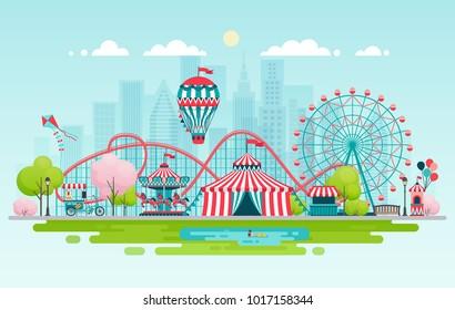 Amusement park, urban landscape. Vector illustration.