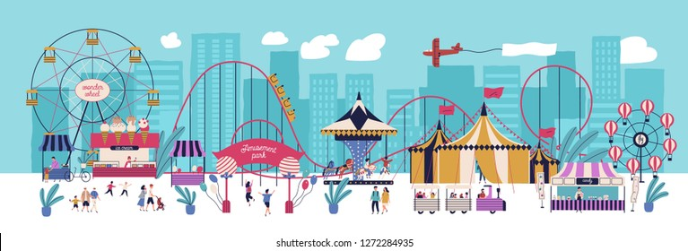 Amusement park with various attractions, circus, ferris wheel, carousel, roller coaster, kiosks with candies and ice cream. City area for recreation and entertainment. Flat vector illustration.