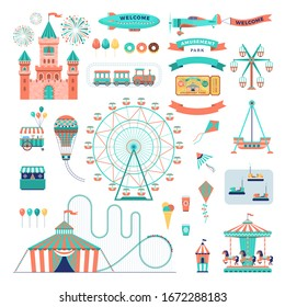 Amusement park vector flat elements set. Family attractions isolated on white background.