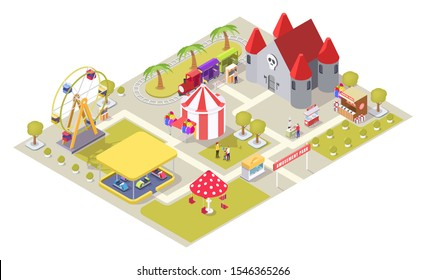 Amusement park vector flat isometric composition with carousel medieval castle ferris wheel circus tent shooting range bumper cars train ride areas, cotton candy and hot dog carts, ticket office.