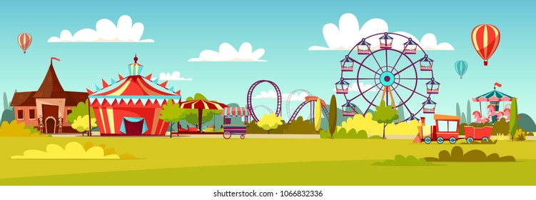 Amusement park vector illustration of cartoon attraction rides and circus tent. Flat background design of merry-go-round horseabout carousel, observation wheel or roller coaster amusement rides