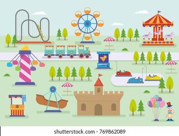amusement park vector landscape