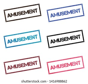 AMUSEMENT rectangular stamp collection. Textured seals with text isolated on white backgound. Stamps in turquoise, red, blue, black and sepia colors. Colourful watercolor style vector illustration.