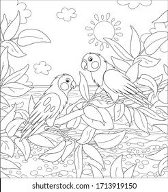 Amusing exotic parrots perched on a tree branch in a tropical jungle on a sea background on a sunny summer day, black and white vector cartoon illustration for a coloring book page