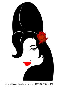 Amy Winehouse - minimalist version, vector portrait of jazz singer, isolated or white background