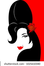 Amy Winehouse - minimalist version, vector portrait of jazz singer, isolated or red background