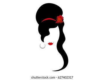 Amy Winehouse - minimalist version, vector portrait of jazz singer