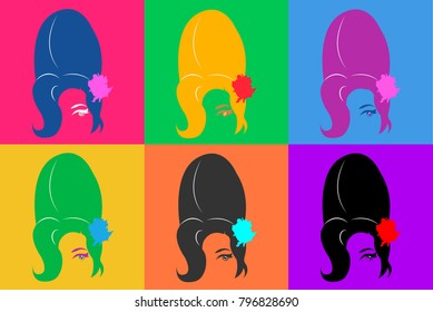 Amy Winehouse vector portrait, coloured  version Pop Art Style Andy Warhol