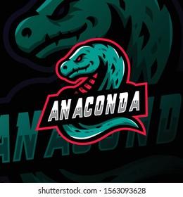 anaconda mascot logo esport gaming. anaconda mascot logo illustration.