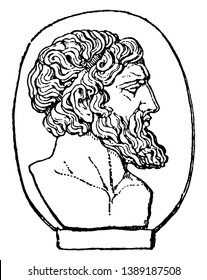 Anacreon, he was a Greek lyric poet, famous for his drinking songs and hymns, vintage line drawing or engraving illustration