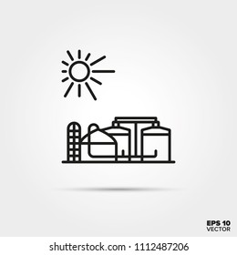 Anaerobic digestion power plant line icon vector. Industry and sustainable energy symbol.