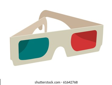ana-glyph 3D glasses on white