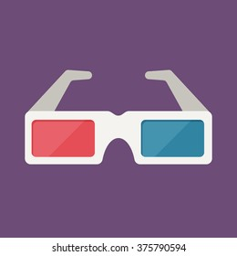 anaglyph glasses in flat design