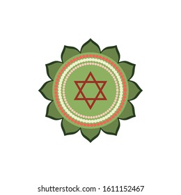 Anahata.Heart chakra. Fourth Chakra symbol of human. Vector illustration isolated on white background.Yoga,meditation,reiki and buddhism color simbol.Anahata chakra icon.