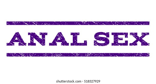 Anal Sex watermark stamp. Text tag between horizontal parallel lines with grunge design style. Rubber seal stamp with scratched texture. Vector indigo blue color ink imprint on a white background.