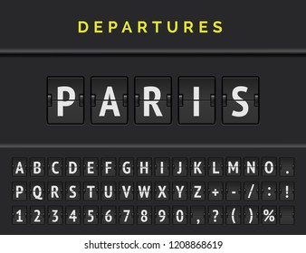 Analog airport flip board displays flight info of departure destination in Europe: Paris with aircraft sign icon and full font. Vector illustration