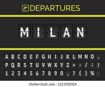 Analog airport flip board displays flight information of destination in Europe: Milan with aircraft sign icon and full timetable font . Vector illustration