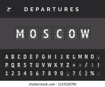 Analog airport flip board displays flight info of departure in Europe: Moscow with aircraft sign icon and full font . Vector illustration