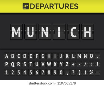 Analog airport flip board with flight info of departure destination in Europe: Munich with aircraft sign icon and full font. Vector