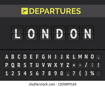 Analog airport flip board with flight info of departure destination in Europe: London with airline sign icon and full font. Vector