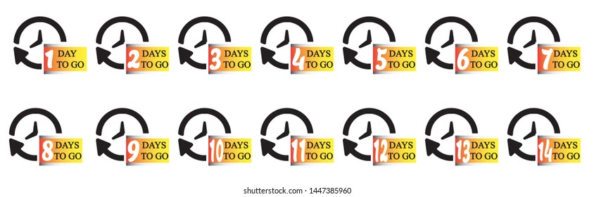 Analog clock with 1 to 14 days to go mark. Vector sign for label, print, button, logo, mark, sign and other creative uses