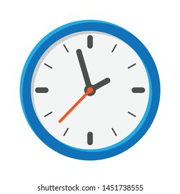 Analog clock flat vector icon. Symbol of time management, chronometer with hour, minute and second arrow. Simple illustration isolated on white background.
