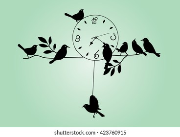 analog clock vintage, Vintage Wall Clock, Bird House Clock.
